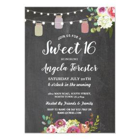 Rustic Jars Sweet 16 Party Chalk Floral Lights Invitation