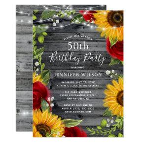 Rustic Sunflower Burgundy Rose Wood Birthday Party Invitation