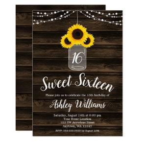 Rustic Sunflower String Lights Sweet 16 Invites