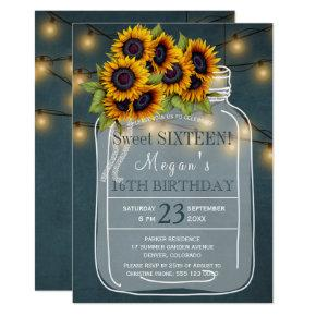 Rustic | Sunflowers lights mason jar sweet sixteen Invitation