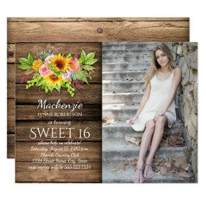 Rustic Sunflowers Peonies Barnwood Photo Sweet 16 Invitation