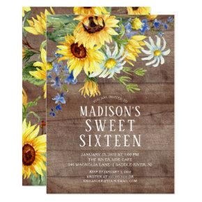 Rustic Sunflowers Sweet Sixteen Birthday Party Invitation