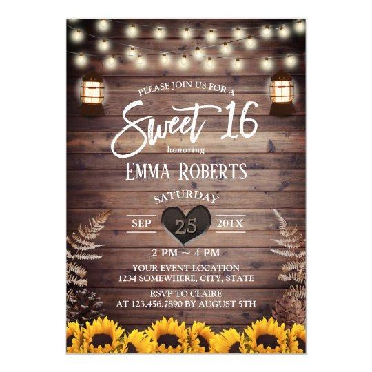 Rustic Sunflowers Vintage Lantern Sweet 16 Invitation