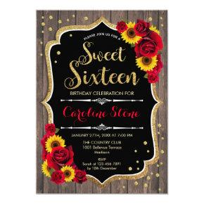 Rustic Sweet 16 Birthday - Sunflowers Roses Wood Invitation