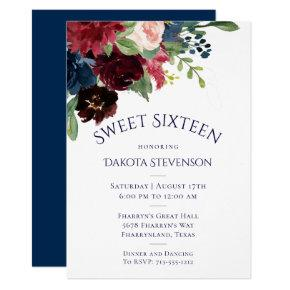 Rustic Sweet 16 Floral | Navy Burgundy Boho Chic Invitation