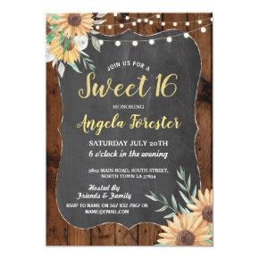 Rustic Sweet 16 Party Wood Floral Lights Sunflower Invitation