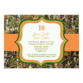 Rustic Sweet Sixteen Camo Birthday Invitation
