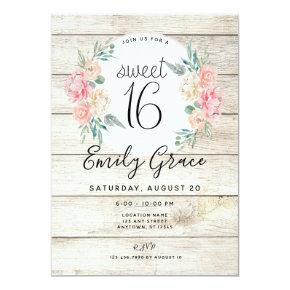 Rustic Wood Boho Floral Sweet 16 Birthday Invite