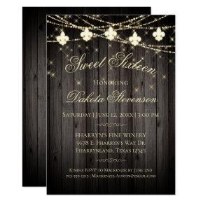 Rustic Wood Fleur de Lis Fairy Lights | Sweet 16 Invitation