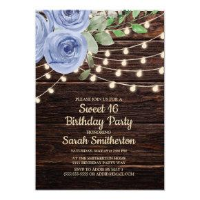 Rustic Wood String Lights Blue Floral Sweet 16 Invitation