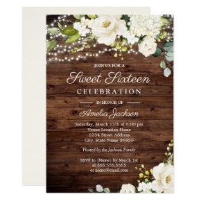 Rustic Wood White Floral Lights Sweet 16 Invitation