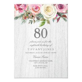 Rustic Wood White Rose Floral 80th Birthday Invite