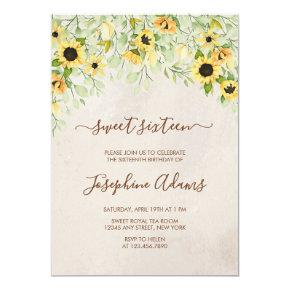 Rustic Yellow Sunflower Watercolor Sweet Sixteen Invitation