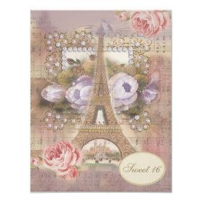 Shabby Chic Eiffel Tower Floral Sweet 16 Invitation