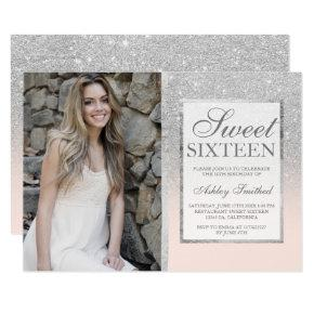 Silver glitter blush ombre photo Sweet 16 Invitation
