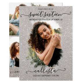 Silver Glitter Halo Photo Collage Sweet 16 Invitation