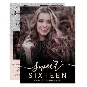 Silver glitter pink ombre 5 photos sweet 16 invitation