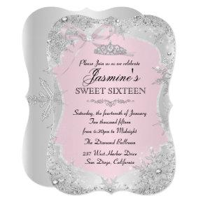 Silver Pink Winter Snowflake Sweet 16 Invitation