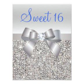 Silver Sequins & Bow Royal Blue Text Sweet 16 Invitation