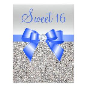 Silver Sequins Royal Blue Bow Sweet 16 Invitation