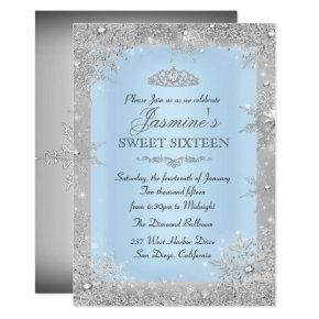 Silver Winter Wonderland Blue Sweet 16 Invitation