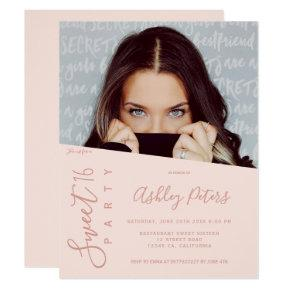 Simple girly typography blush photo Sweet 16 Invitation