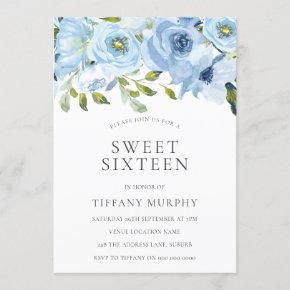 Sky Blue Flowers Sweet 16 Birthday Party Invitation