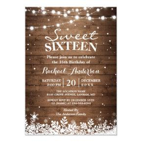 Snowflakes Lights Winter Sweet 16 Birthday Party Invitation