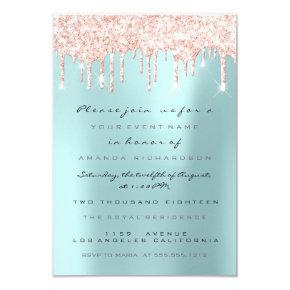 Spark Glitter Drips Pink  Bridal Sweet 16th Blue Invitation