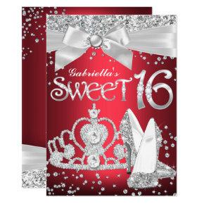Sparkle Tiara Heels Sweet 16 Invite Red