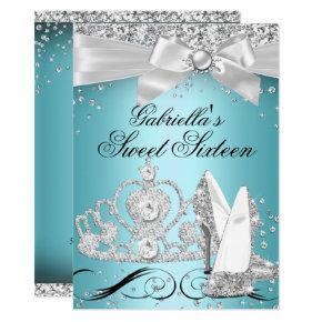 Sparkle Tiara Heels Teal Sweet 16 Invitation