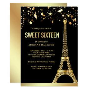 Star Confetti Gold Foil Eiffel Tower Sweet Sixteen Invitation