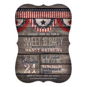 Stars & Stripes Rustic Wood Sweet 16 Party Invitation
