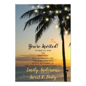 Summer Beach String Light Sunset Sweet 16 Birthday Invitation