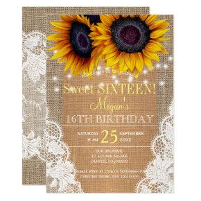 Sunflowers burlap and lace autumn sweet sixteen invitation