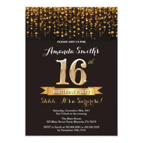 Surprise 16th Birthday Invitation Black and Gold