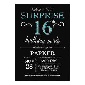 Surprise 16th Birthday Invitation Black and Teal