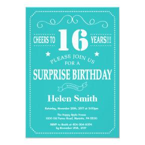 Surprise 16th Birthday Invitation Teal and White
