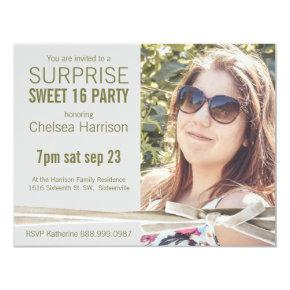 Surprise Sweet 16 Photo Birthday Party Invitation