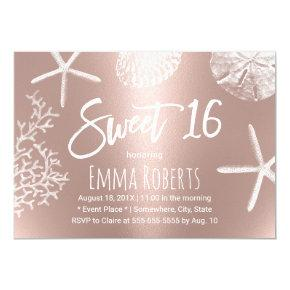 Sweet 16 Beach Starfish Coral Seashells Rose Gold Invitation