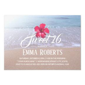 Sweet 16 Beach Theme Tropical Red Flower Invitation