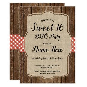 Sweet 16 Birthday Party BBQ Red Gingham Burlap Invitation