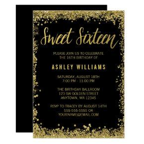 Sweet 16 Black Gold Glitter Birthday Invitation