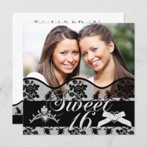 Sweet 16 Black Twins Photo Sweet Sixteen Invitation