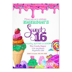 Sweet 16, Candyland, Candy Sweets donut Invitation