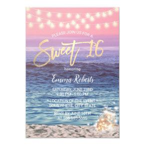 Sweet 16 Elegant Pink Beach Mason Jar String Light Invitation