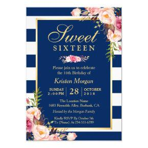 Sweet 16 Elegant Pink Floral Navy Blue Stripes Invitation