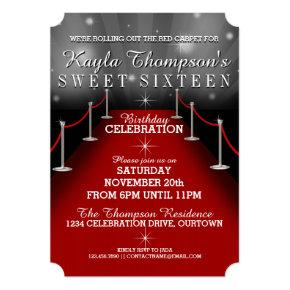 Sweet 16 Glamorous Red Carpet Party Invitations