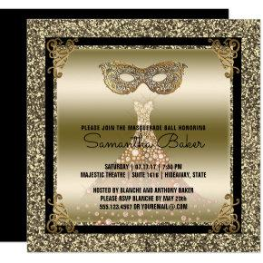 Sweet 16 Masquerade | Sweet Sixteen Black Gold Invitation