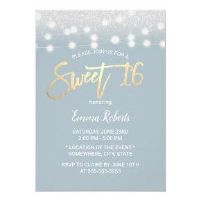 Sweet 16 Modern Dusty Blue Silver Glitter Invitation